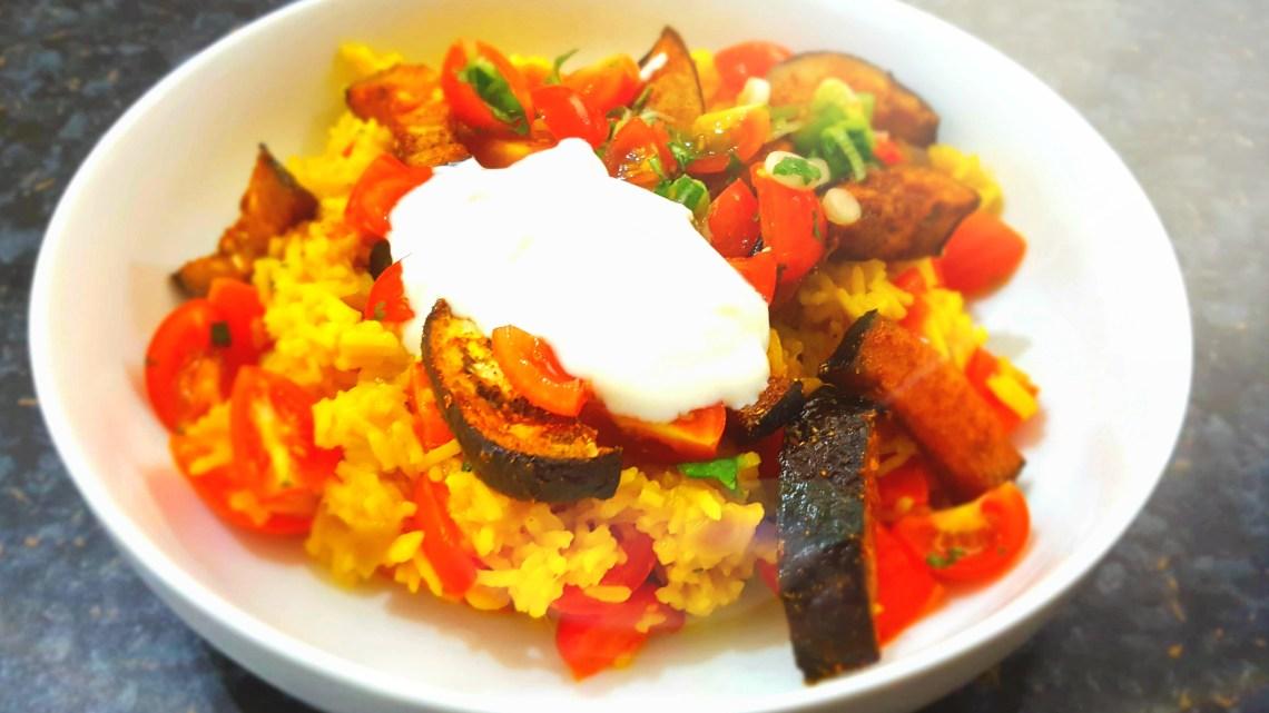 Tandoori Spiced Aubergine with Tomato and Coriander Rice and Yoghurt