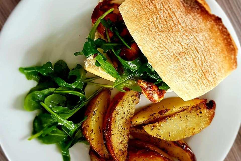 BBQ Chicken Ciabatta with Potato Wedges and Zingy Salad