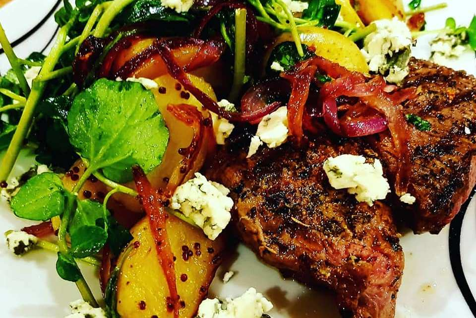 Rump Steak with New Potatoes, Blue Cheese and Watercress