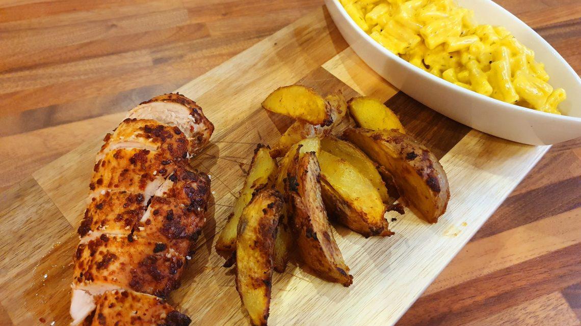 Piri Piri Chicken with Saffron Mac n Cheese & Spicy Wedges