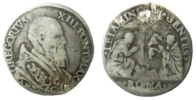 Gregorio XIII testone busto presepe