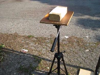The tripod cooking stand for my fresnel solar cooker.