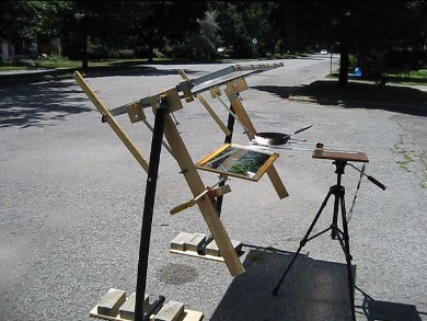 The completed fresnel lens and mirror solar cooker.