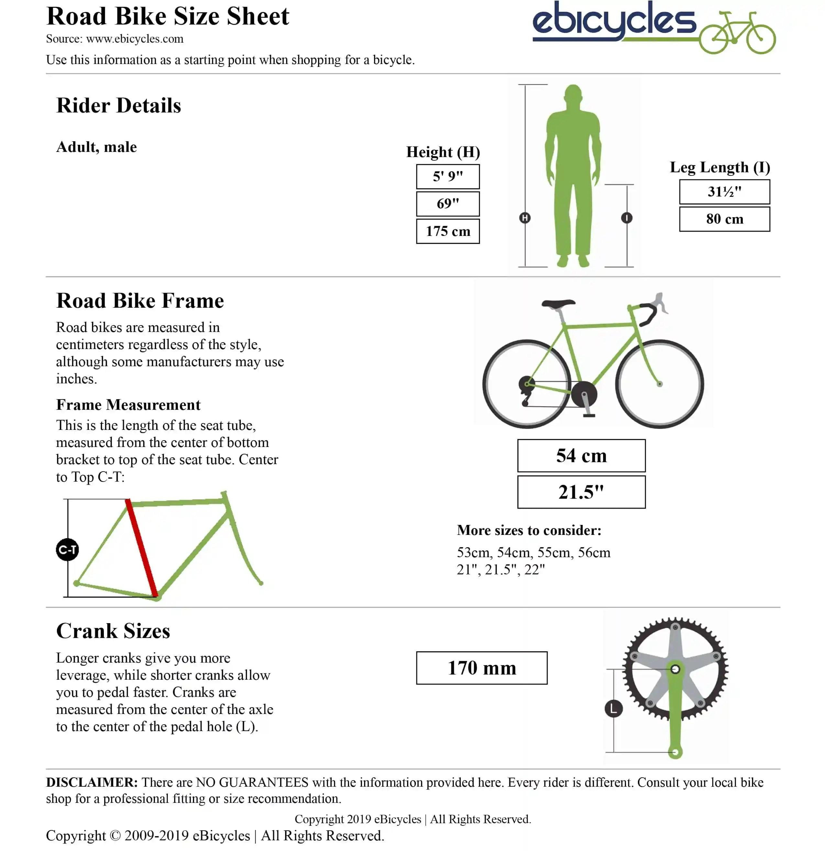 Bike size calculator result