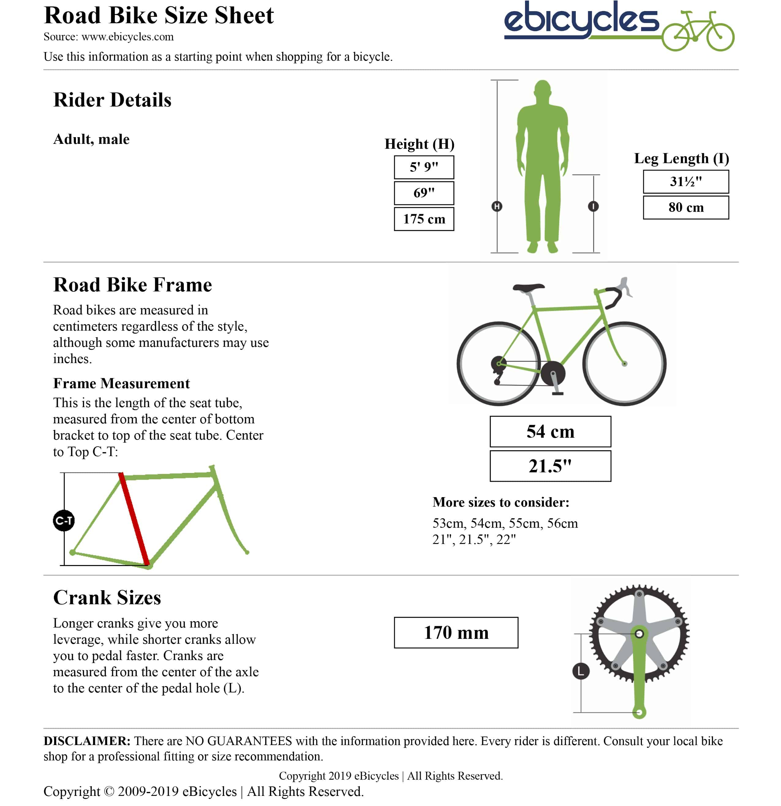 Bike size calculator result
