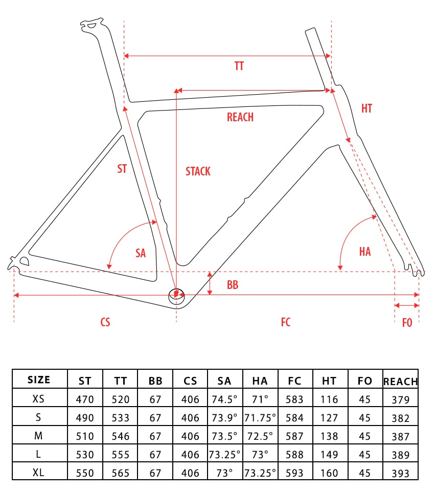 Disk Brake carbon road bike frame geometry