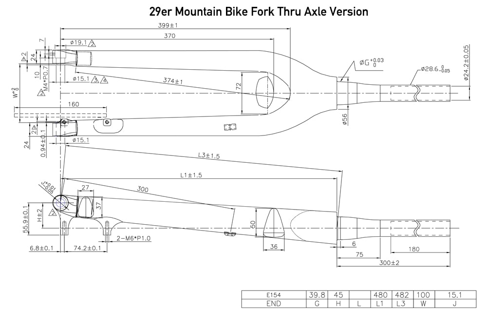29er MTB fork Thru Axle geometry