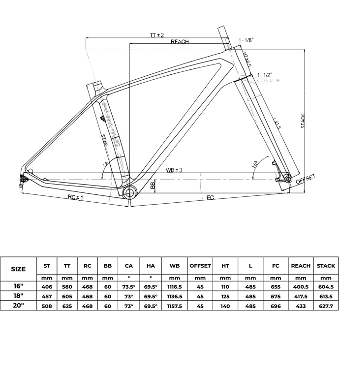 carbon fatbike frame geometry new