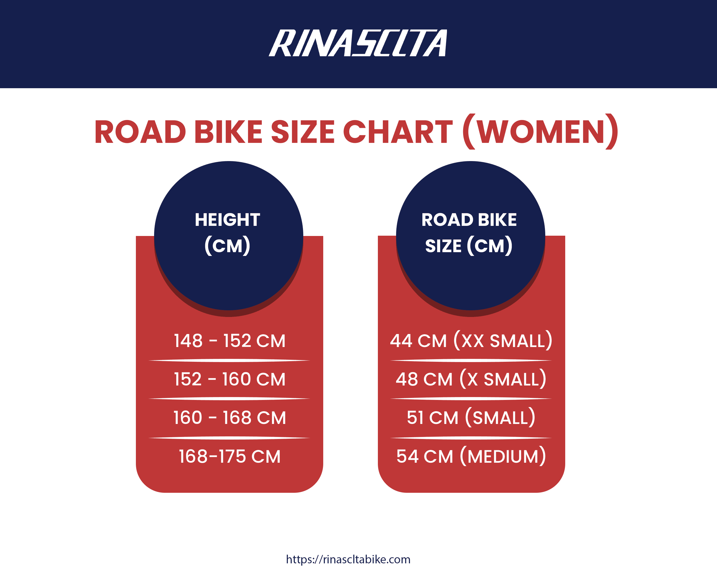 women road bike size chart