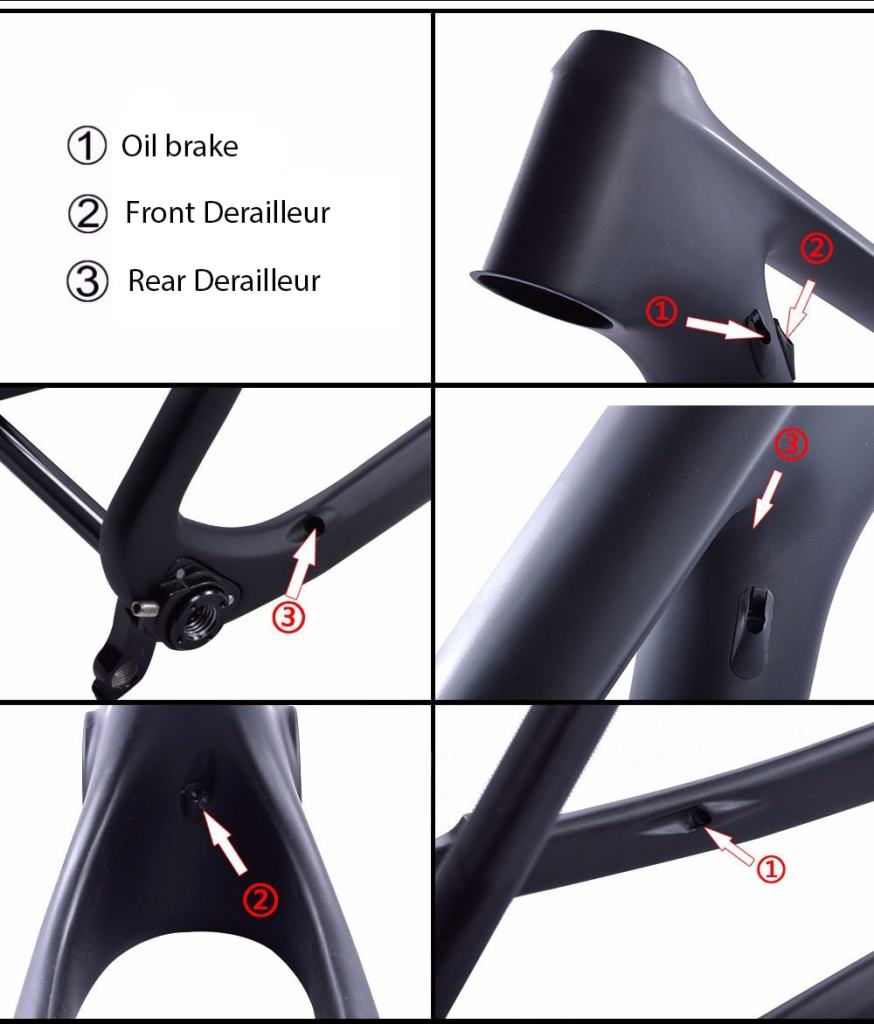 29er carbon mtb hardtail frame inner cable route guide