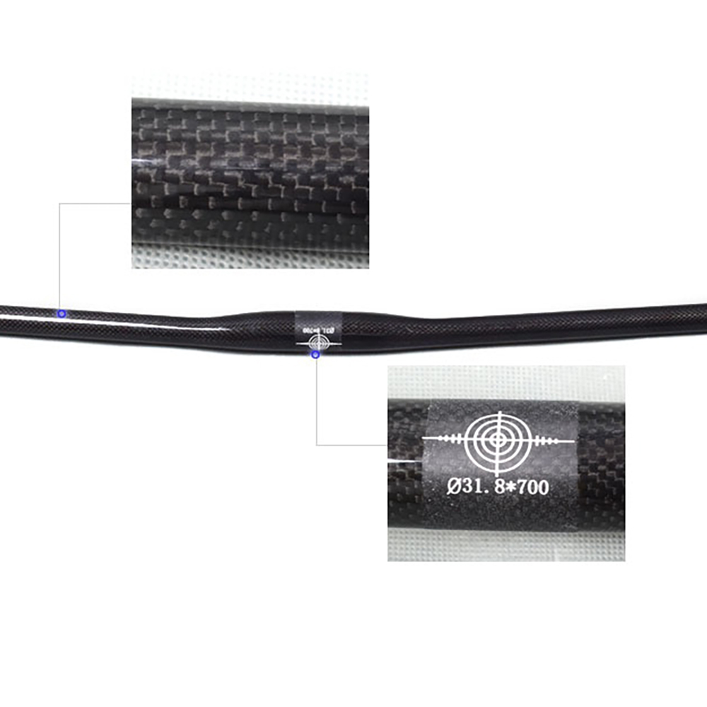 Full Carbon Fiber Integrated Manubrio Flat Bar Nero 3/ K Lucido//Opaco per MTB