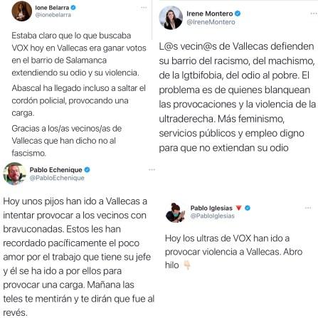 Podemos justifica la violencia contra VOX