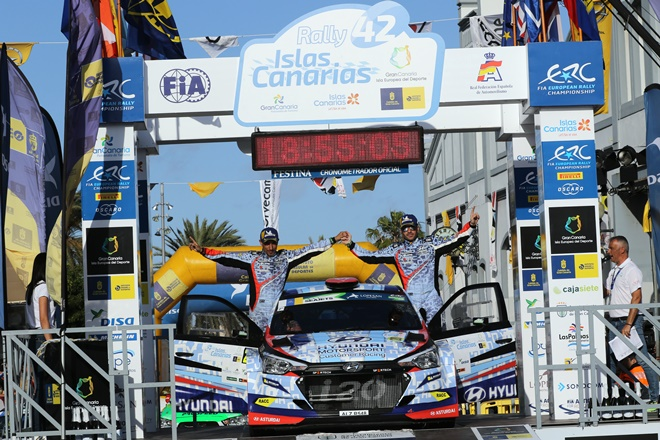 Rallye Canarias Suarez podio hyundai r5
