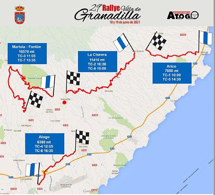 mapa tramos rallye granadilla 21