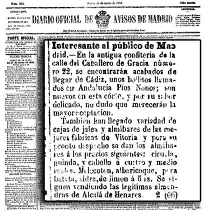 Diario Oficial de Avisos de Madrid el 18 de marzo de 1858