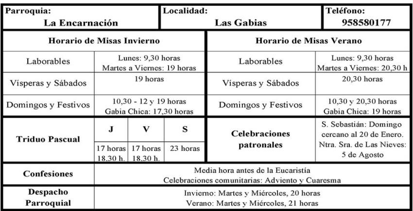 HORARIO - IGLESIA PARROQUIAL DE LA ENCARNACIÓN - LAS GABIAS