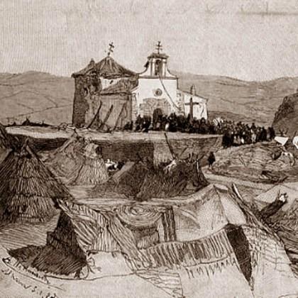 GRABADO 1885 - ERMITA DE LOS REMEDIOS - ALHAMA DE GRANADA - M. A. WIDMANN