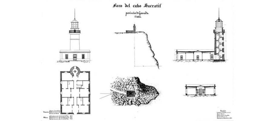 FARO DE SACRATIF - Planta, alzado, sección por la torre, sección del terreno y faro y ubicación orográfica.