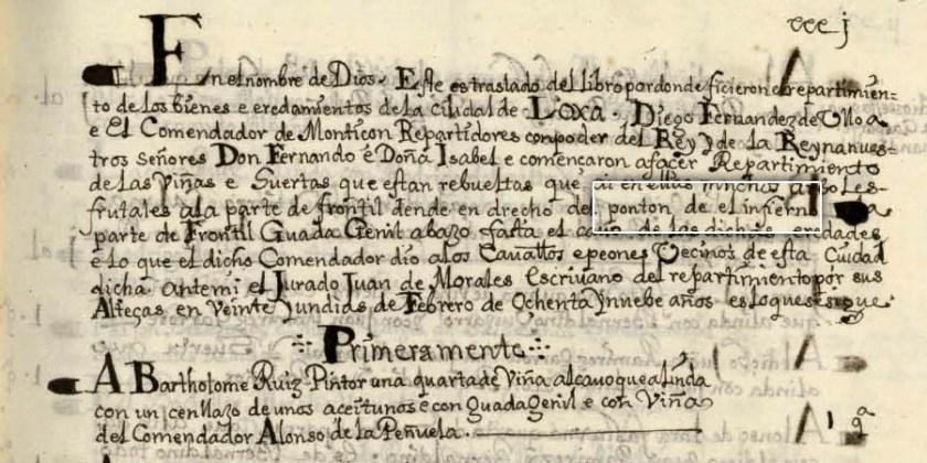 LIBRO DE REPARTIMIENTO DE LOJA - 1491
