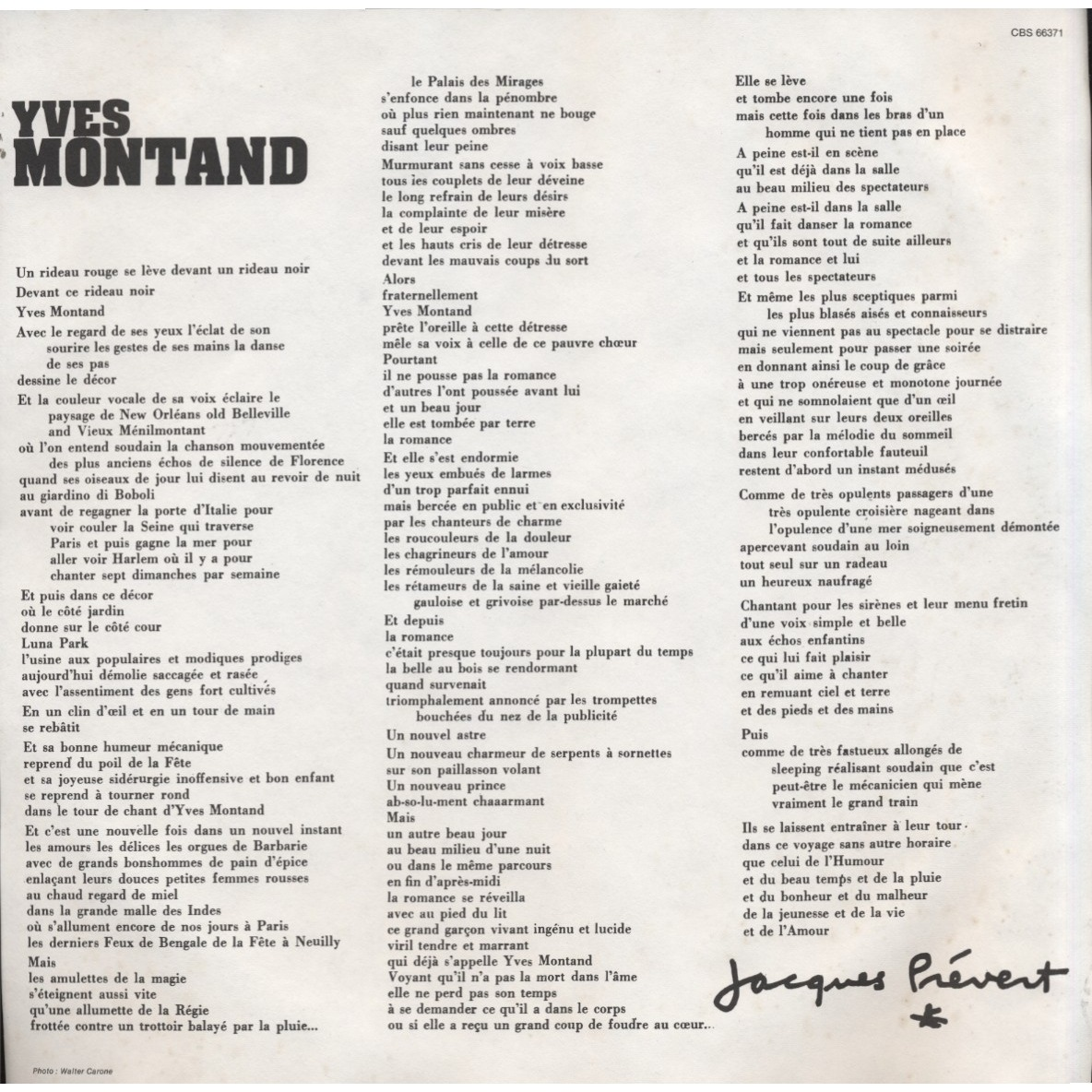 Coffret 3 Lp Insert By Yves Montand Lp Box Set With