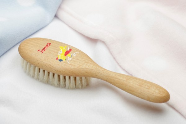 personalised baby or childs hair brush with plane design