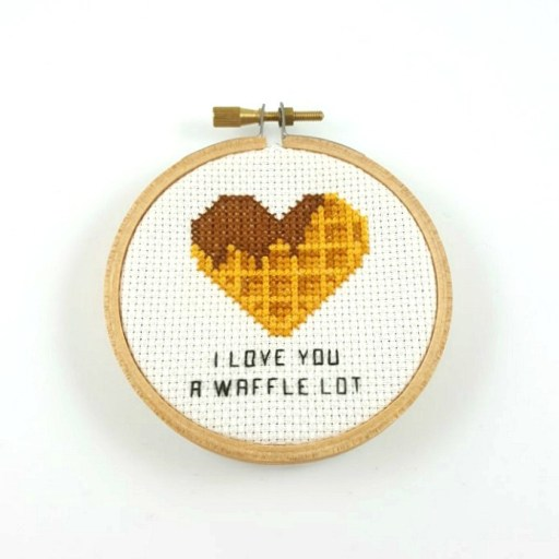 I designed This I love you a waffle lot cross stitch pdf pattern with valentine in mind. Don't you just love the cute little heart shaped waffle. #valentine #crossstitchpattern #foodpun