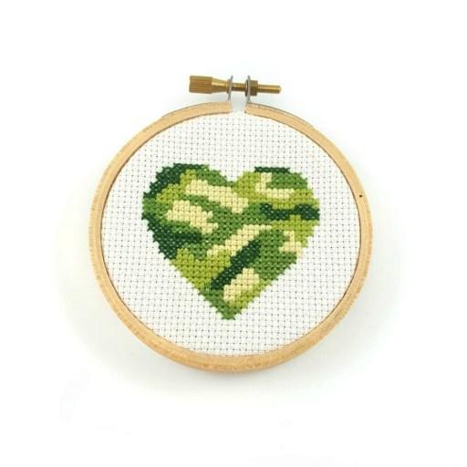 camouflage heart cross stitch pdf pattern