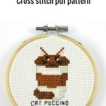 cat puccino cross stitch pdf pattern