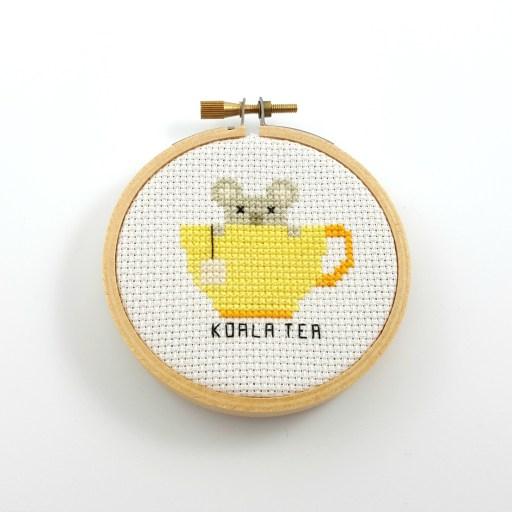 koala tea cross stitch pdf pattern