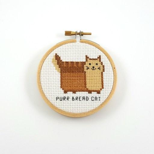 Purr bread cat cross stitch pdf pattern