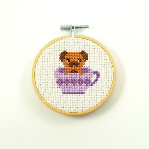 dog in a tea cross stitch pdf pattern