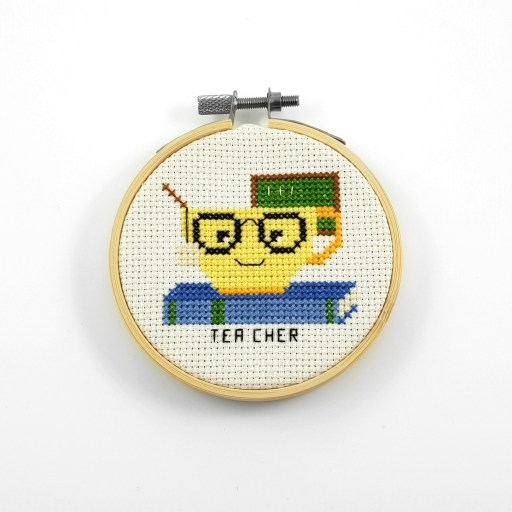 Tea cher cross stitch pdf pattern
