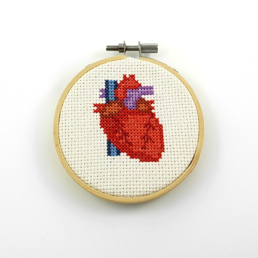 anatomical heart cross stitch pdf pattern