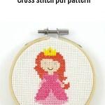 Pink princess cross stitch pdf pattern