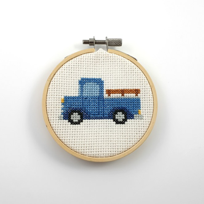 Blue pickup truck cross stitch pdf pattern