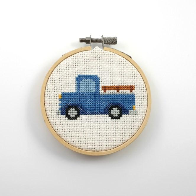 Blue pickup truck cross stitch pdf pattern