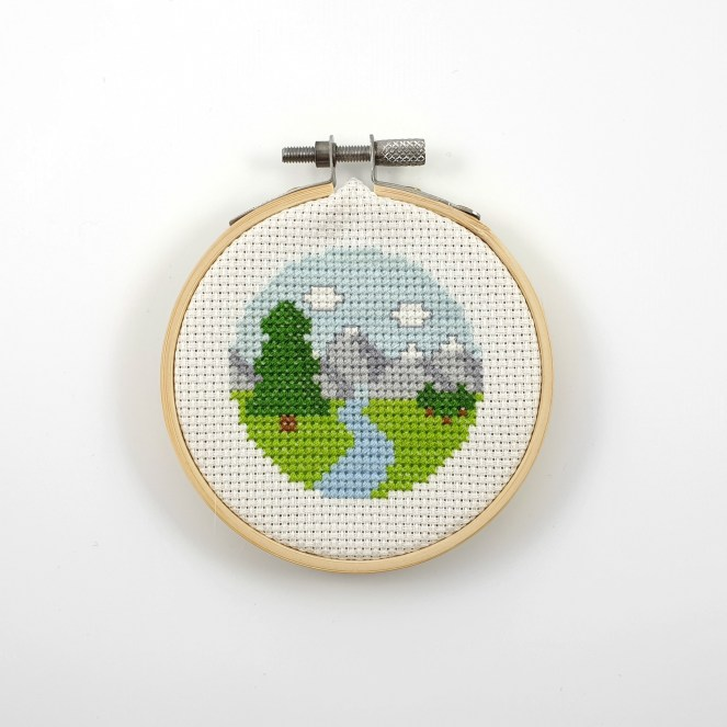Mountain and river view cross stitch pdf pattern