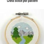 Mountains and river pdf cross stitch pattern