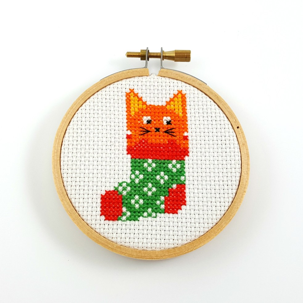 Cat in Christmas stocking cross stitch pdf pattern