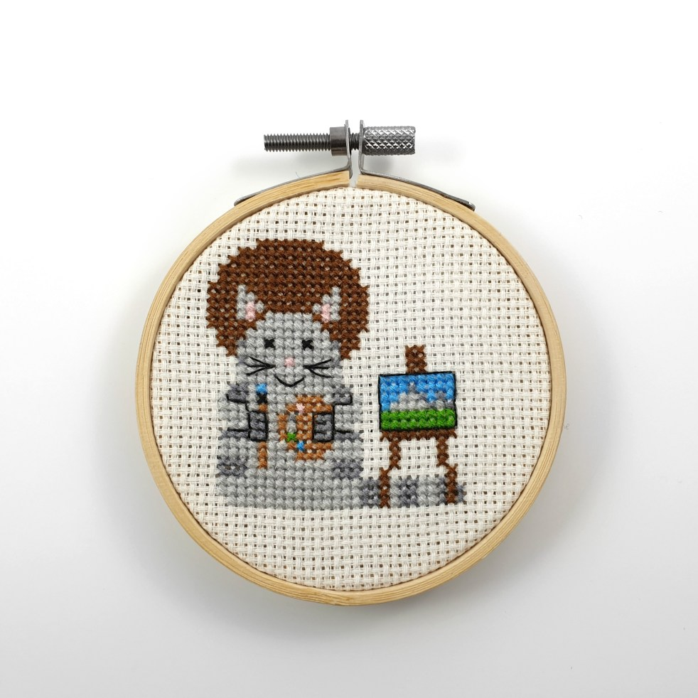 Painter cat cross stitch pdf pattern