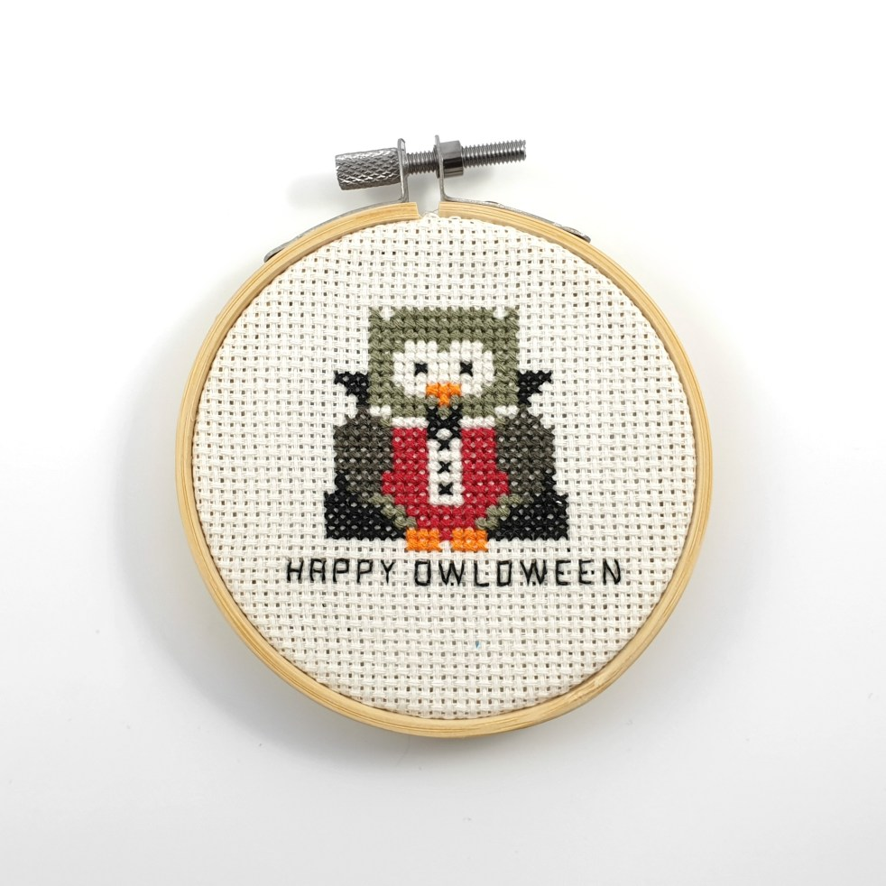 Happy owloween cross stitch pdf pattern