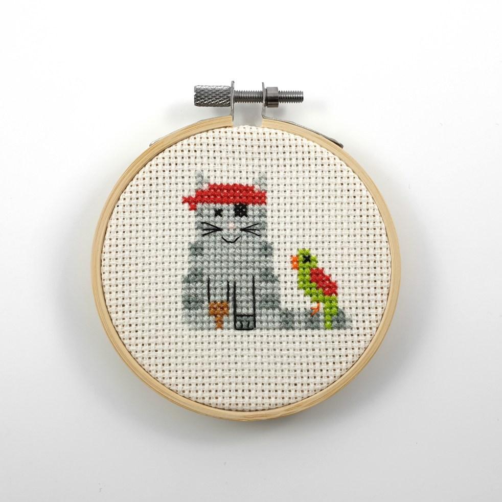 Pirate cat cross stitch pdf pattern
