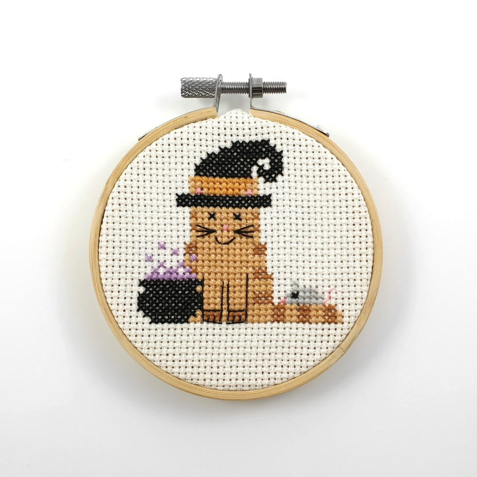 witch cat cross stitch pdf pattern