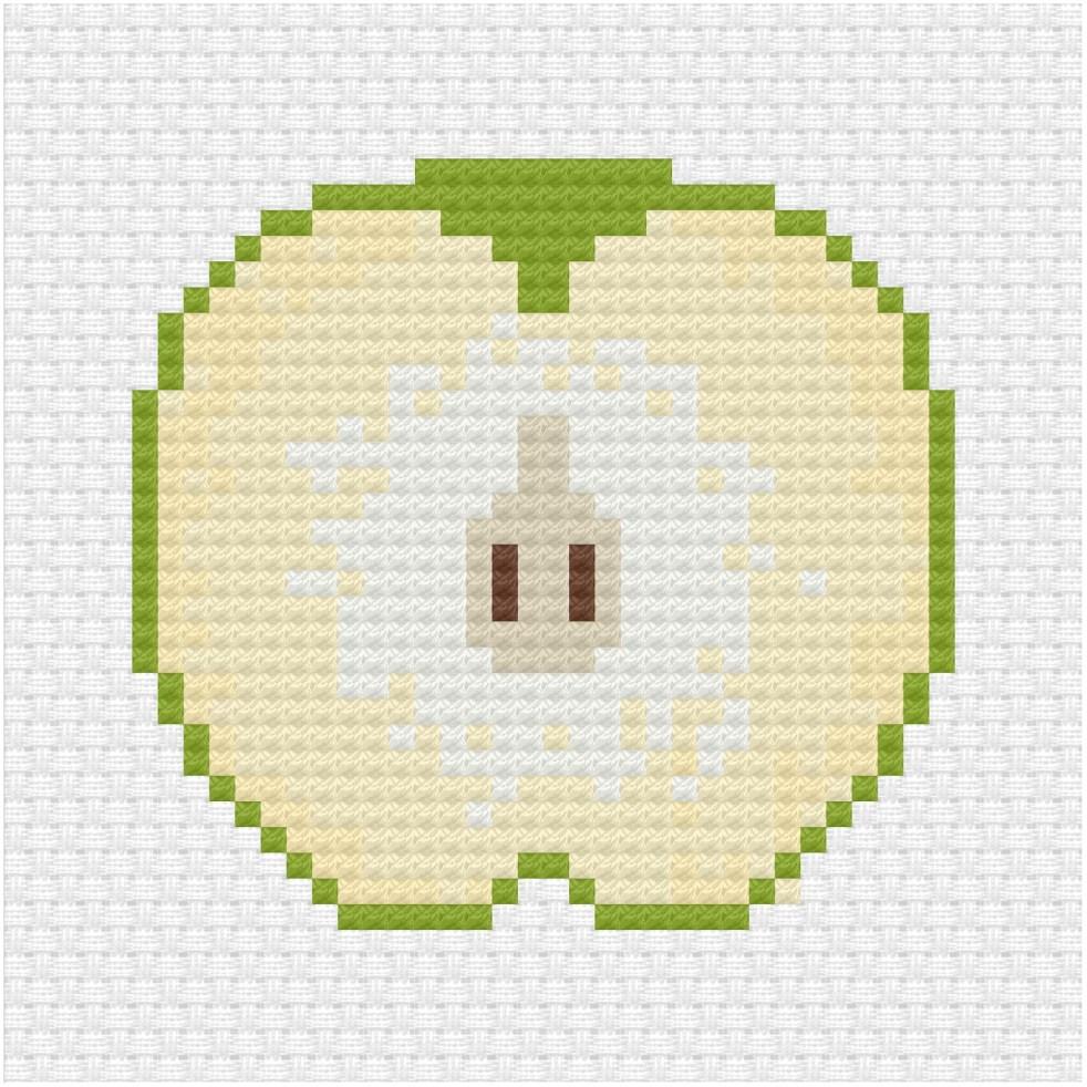Sliced green apple cross stitch pdf pattern - Ringcat