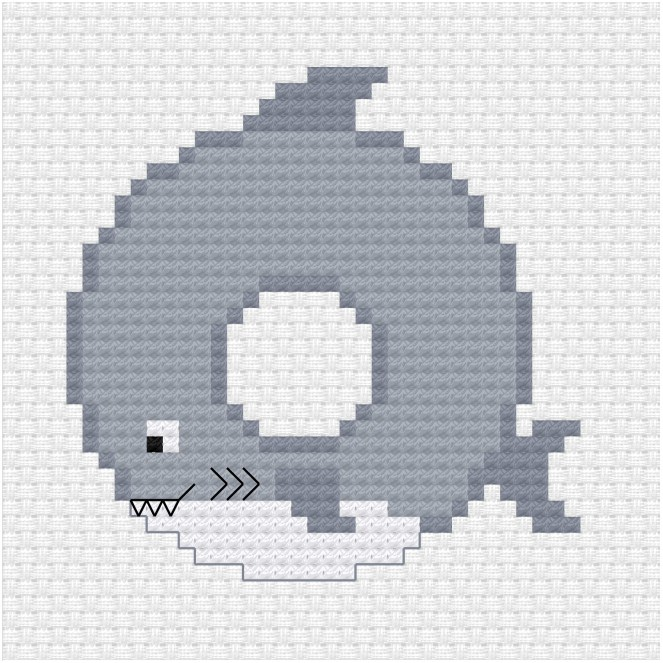 Shark donut cross stitch pdf pattern