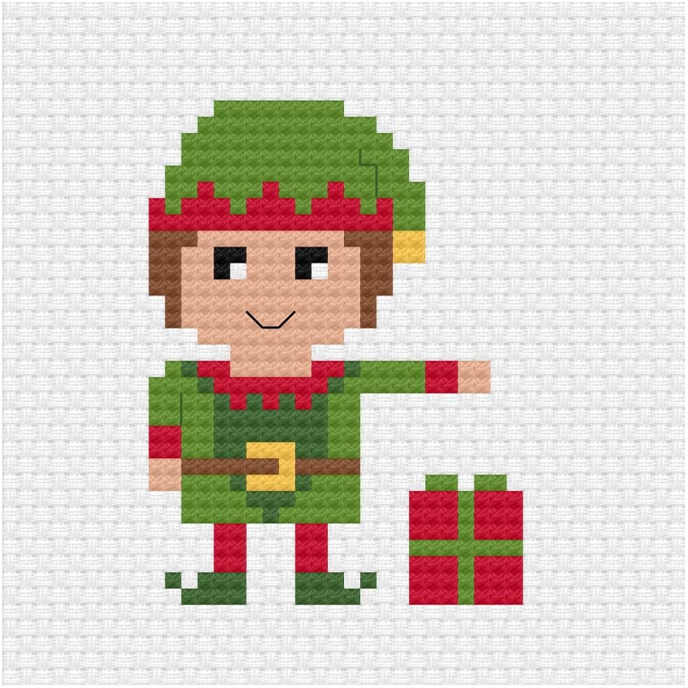 Christmas elf cross stitch pdf pattern