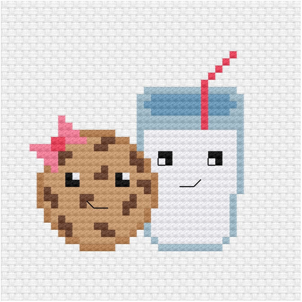 Milk and cookie cross stitch pdf pattern