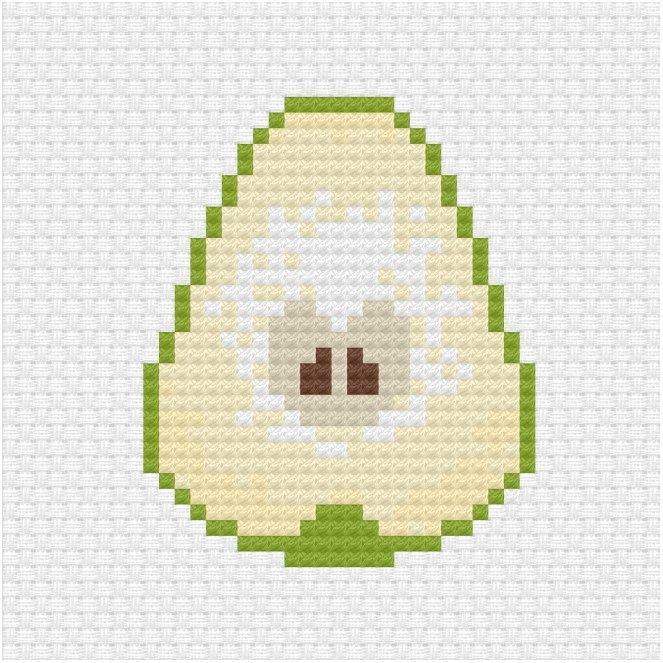 Sliced pear cross stitch pdf pattern