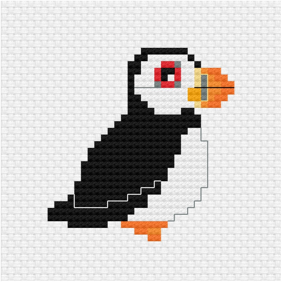 Puffin cross stitch pdf pattern