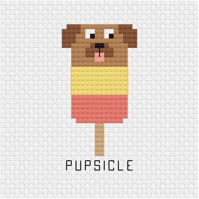 Pupsicle cross stitch pdf pattern